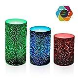 Set von 3 LED-Kerzen, 3 Größe, LED flammenlose Kerzen mit Timer, 7 Farbwechsel Beleuchtung, Batterie enthalten, 3x5 Zoll