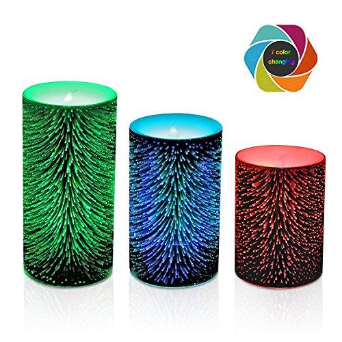 Bougie décorative en verre 3D de LED, lumières changeantes colorées de feux d'artifice de filament de cru de Meteor, bougie sans flamme fonctionnant à piles avec la minuterie Paquet de 3