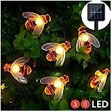 Solar LED Bienen Lichterkette, Mr.Twinklelight 30 LED Warmweiß Außen Wasserdichte lichterkette Dekorative für Garten, Party, Hochzeit, Haus,Fest Deko Beleuchtung (Warmes Weiß)
