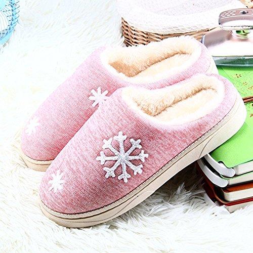 Minetom Unisex Donne Uomo Morbido Caldo Peluche Casa Pantofole Inverno Autunno Antiscivolo Pattini Fiocco Di Neve Modello Scarpe Slippers A-Rosa