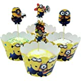 TaoQi 48 Stycken Cupcake Wrappers Paper Muffins Dessert Decorating Wrapping Ring Cake Topper Cake Topper Cupcake Liner Cake R