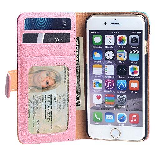 Apple iPhone 7 Hülle Case, slim Kunstleder Rundumschutz Handytasche mit transparenter Rückschale Book Style Klappetui Flip Cover (Schwarz) Bunt