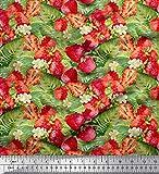 Soimoi Orange Baumwolle Batist Stoff Blätter, Blumen und