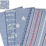 Jeansstoff - 100% Baumwolle /Deko- und Polsterstoff / bedruckt - Meterware 2,80m breit / Jeans - Stars