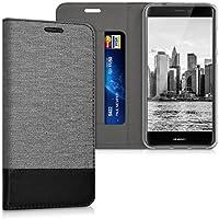 kwmobile Funda para Huawei P8 Lite (2017) - Case con tapa cover de tela con cuero sintético - Carcasa plegable gris negro