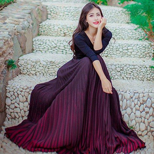 GAOLIM Frühling Frauen V-Ausschnitt Plissee Rock Zwei Sätze Von Gradienten Kleid, M, Schwarz Und Rot Zweiteilige Anzug (Anzug Rock Plissee-kragen)