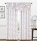 Regal Home Collections Zinnia bedruckt Botanical Crepe Wasserfall Fenster Volant mit dekorative Kristall Perlen Blumenkasten X 94CM, Multi