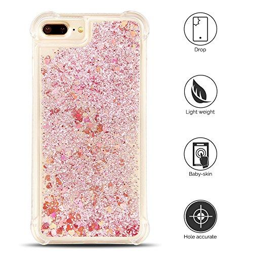 Cover iPhone 7 plus Custodia iPhone 8 plus Silicone Liquido Anfire Trasparente Flessibile Plastica TPU Case per Apple iPhone 7 plus/8 plus (4.7 Pollici) Sabbie Mobili Shell 3D Bling Glitter Floating Q Risso