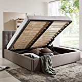Bett mit Bettkasten Grau Polsterbett Lattenrost Doppelbett Jimmy 140 160 180x200 (140 x 200 cm)
