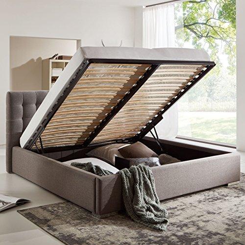Bett mit Bettkasten Grau Polsterbett Lattenrost Doppelbett Jimmy 140 160 180x200 (180 x 200 cm)
