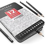 Crayon à papier Arteza pour dessin profesionnel | Crayon 6B 5B 4B 3B 2B B HB F H 2H 3H 4H | Lot de 12 | Crayon gris idéal pour carnet de croquis | Boîte métallique de protection