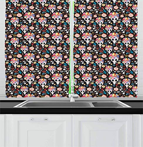 Hmihilu Sugar Skull Kitchen Curtains, Funky and Pattern with Spooky Skulls Floral Wreaths Hearts, Window Drapes 2 Panel Set for Kitchen Cafe Decor, Black and Multicolor 110x110 in -