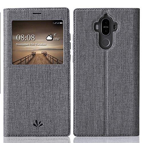 Feitenn Huawei Mate 9 Hülle, dünne Premium PU Leder Flip Handy Schutzhülle mit dem Ansichtsfenster | TPU-Stoßstange, Magnetverschluss und Standfunktion Brieftasche Etui (Grau)