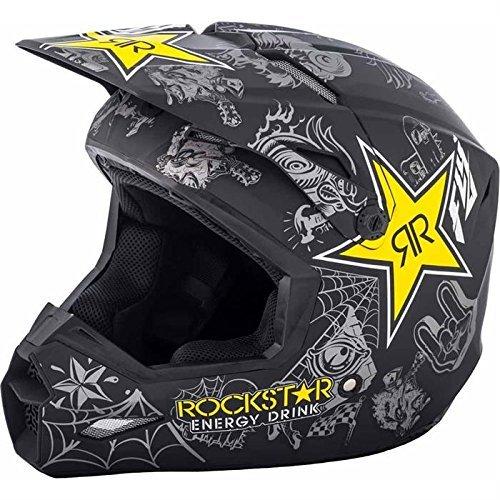 Fly Racing Kinetic Elite Rockstar Motocross Helm, matt-schwarz-gelb, Größe: XS, MX Downhill BMX