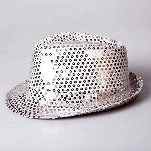 Szjsl Jazz Hut, Tanz dress up Requisiten LED Licht ca LED blinkt Sequin Fedora Hut Party Neuheit Kostüm Jazz Caps-Farbe zufällig