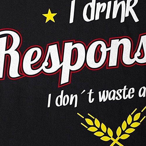 CottonCloud I drink responsibly - dont waste a drop Herren T-Shirt Bier Fun Shirt Spruch trinken Schwarz
