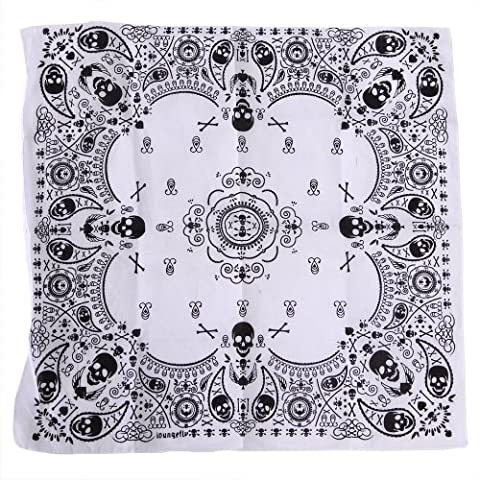HDE 100% Cotton Pattern Print Bandana - Black & White