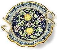 CERAMICHE D'ARTE PARRINI- Ceramica italiana artistica, bolo decorazione limoni, dipinto a mano, made in IT