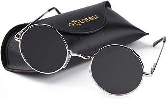 GQUEEN Occhiali da Sole Retro Uomo e Donna Lennon Rotondi Polarizzati in Metallo con Protezione UV400 MEZ1