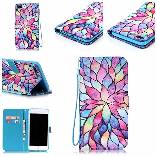 Custodia iphone 7 Plus, iphone 7 Plus Case, Cozy Hut ® Retro Colorful Drawing Art Painted Premium PU Leather Magnetic Flip Wallet Cover with Detachable Hand Lanyard & Card Slots & Stand Function for A Multicolor Fiore