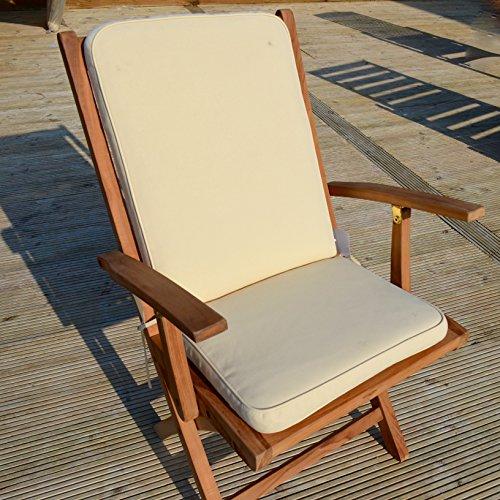 Coussin de luxe de chaise (siege et arriere) - utilisation interieure/exterieure - lot de 2 - coussins UNIQUEMENT - couleur Avoine