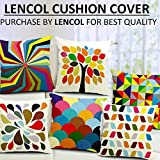 Lencol Jute Cushion Cover 16x16 Set of 5 with Digital Print in Multi Color