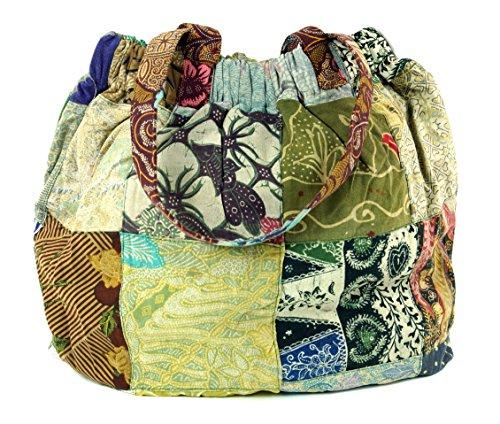 Guru-Shop Hippie Tasche, Patchwork Shopper, Schultertasche, Herren/Damen, Mehrfarbig, Baumwolle, Size:One Size, 40x40x13 cm, Bunter Stoffbeutel (Patchwork-shopper)