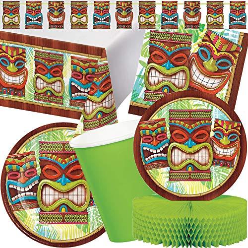 Carpeta 87-tlg. Party-Set * Tiki * für Eine Hawaii- & Südsee-Mottoparty | mit Teller + Becher + Servietten + Deko | Kindergeburtstag Kinder Geburtstag Sommer