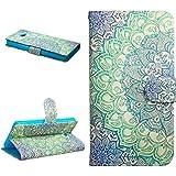 Dokpav® Sony xperia M2 Funda,Ultra Slim Delgado Flip PU Cuero Cover Case para Sony xperia M2 con Interiores Slip compartimentos para tarjetas-Flower bicolor