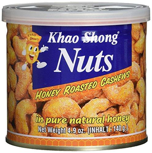 Preisvergleich Produktbild KHAO SHONG Cashewnüsse mit Honig über-,  backen und geröstet,  6er Pack (6 x 140 g Dose)