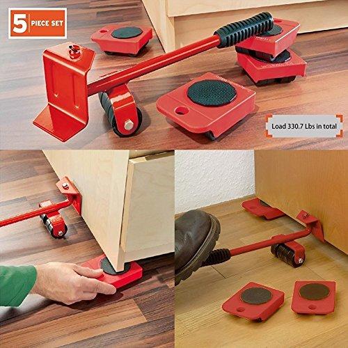 Powerfix Kit de 5 pièces pour transporter les meubles, idéal pour les déménagements, avec roulettes et levier