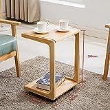 D&L Massivholz Wasserdicht Beistelltisch, Vintage Mit rädern Sofatisch Schlafzimmer Nachttisch Moderne Einfache Couchtisch Lagerregal-Protokolliert