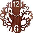 Brown Wall Clocks for Bedroom | Wall Clock for Living Room | Designer Wooden Treebird Clocks for Home/Wall Decor 10 Inch by S