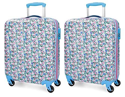 Set de maletas de cabina Roll Road Pretty Blue rígidas 55cm