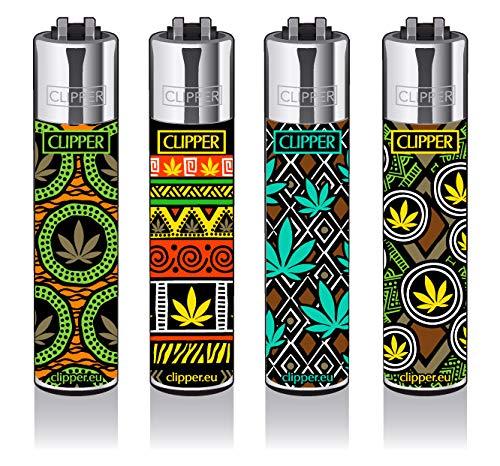 Clipper® Feuerzeuge - African Leaves - 4er Set -