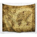 Bewave Wandbehang, Weltkarte zum Aufhängen, Polyester, groß, Antikstil, Polyester-Mischgewebe, Parchment Map, 80 X 60 Inches