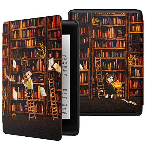 MoKo Hülle für Kindle Paperwhite E-Reader, Die dünnste und leichteste Schutzhülle Smart Cover mit Auto Sleep/Wake für Amazon Kindle Paperwhite (10. Generation - 2018) - Bücherregal