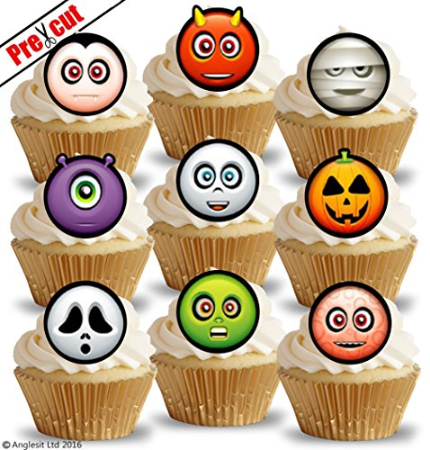 18x vorgeschnittenen Halloween Zeichen II. essbarem Reispapier/Waffel Papier Cupcake Kuchen Topper Halloween Gothic Party Geburtstag Dekorationen (Cupcakes Halloween Kuchen Mumie)