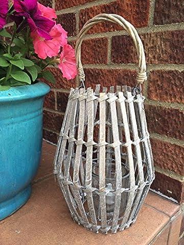 Grey Wooden Lantern Vintage Style Candle Tea Light Holder Wedding Garden Party