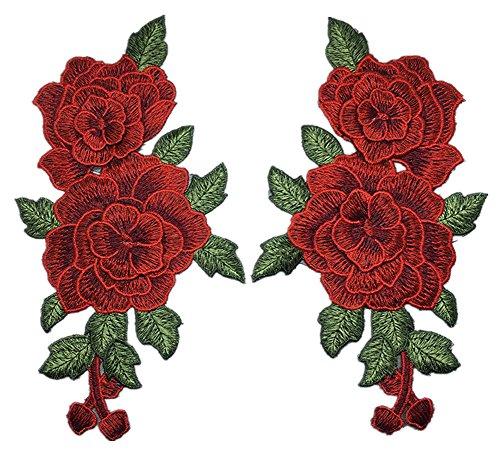 Blue Vessel 2 Stk Stickerei Rose Blume Nähen auf Patch Abzeichen Tasche Hut Jeans Kleid Applique Fertigkeit Ribbon Jeans Hose