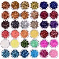 Meicailin 48 colores polvo acrilico para uñas purpurina brillos decoración 3d glitter nail art manicura