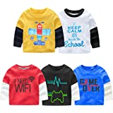 KIDDY STAR Cotton Full Sleeve Printed T-Shirts for Boys & Girls, Multicolour, Pack of 5