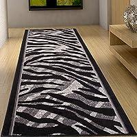 Alfombra De Pasillo Moderna Colección Fiesta - Color Gris Negro De Diseño Piel De Animales - Mejor Calidad - Varias Dimensiones S-XXXL 100 x 250 cm