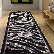 Alfombra De Pasillo Moderna Colección Fiesta - Color Gris Negro De Diseño Piel De Animales - Mejor Calidad - Varias Dimensiones S-XXXL 80 x 250 cm