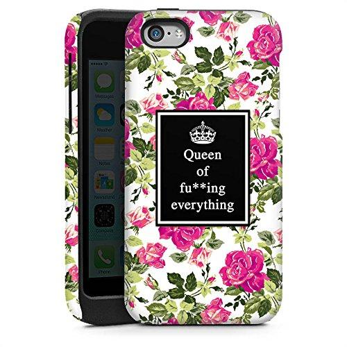 Apple iPhone 5 Housse Outdoor Étui militaire Coque Reine Phrases Motif fleurs Cas Tough brillant