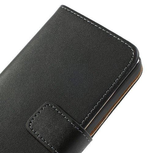 AMEEGO iPhone 6 / 6S Echtes echtes Leder Brieftasche Flip Case mit Tan Innen, Ständer, Kartenfächer und Magnetverschluss Schlankes Design Notebook Flip Cover BLACK