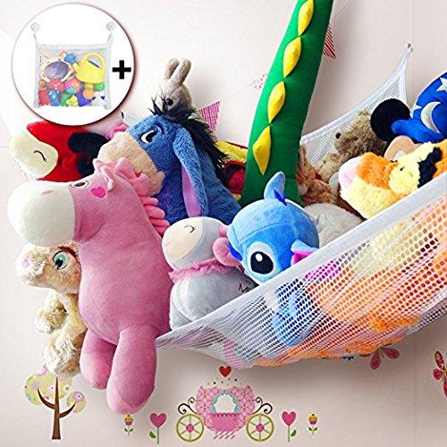 Zebrum Spielzeug Hängematte Set, Aufbewahrung Netz für Kuscheltiere mit Bad Spielzeug Organizer Tasche,extra groß (213 x 150 x 150cm ) Spielzeug Organizer Set + Zubehör (weiß)