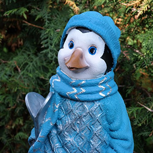 Pinguin Tierfigur Vogel Dekofigur Ski Winter Garten Terrasse