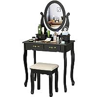 EPHEX Schminktisch mit Spiegel und Hocker, Kosmetiktisch mit Schubladen und Kosmetik Aufbewahrung Organizer…