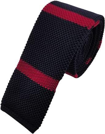 Cravatta a maglia stretta - blu scuro rosso striato
